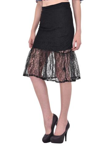 Black Floral Lace gathered hem Skirt for women