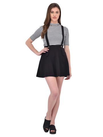 Black suspender skater skirt for women