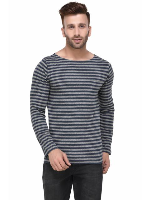 Blue and Charcoal Striped Scoop Neck Full Sleeve Tshirt for Men