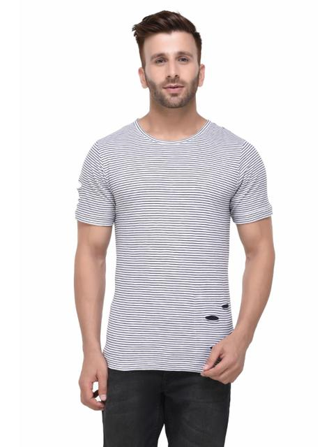 Distressed White and Black Striped Half Sleeve Tshirt for Men
