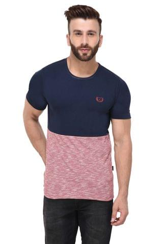 Navy & Red Slub Block Half Sleeve Tshirt for Men