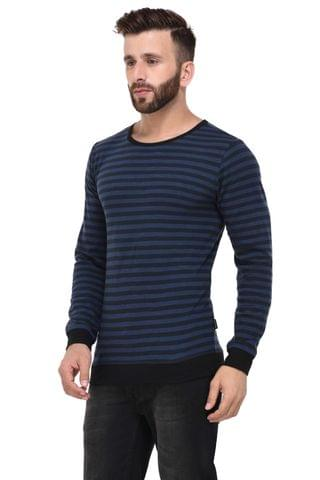 Blue & Black Slub Stripe With Cuff & Bottom full Sleeve Tshirt for Men