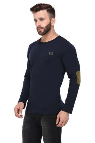 Navy Elbow Patch Full Sleeve Tshirt for Men