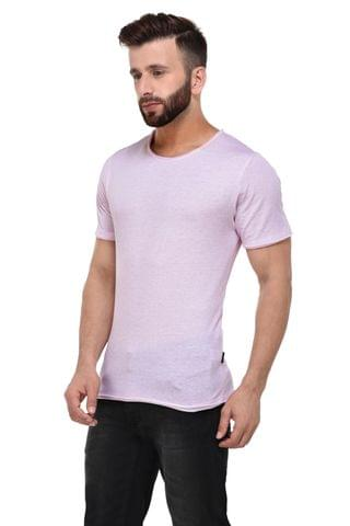 Pink Slub Raw Edge Half Sleeve Tshirt for Men