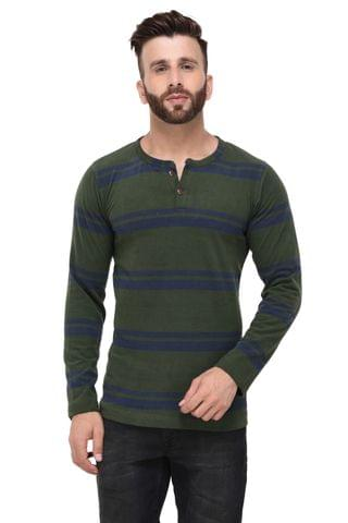 Army Green & Blue Stripe Henley Full Sleeve Tshirt for Men