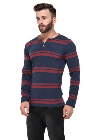 Blue & Red Stripe Henely full Sleeve Tshirt for Men