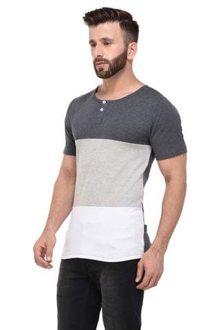 Grey & White Block Henley Half Sleeve Tshirt for Men