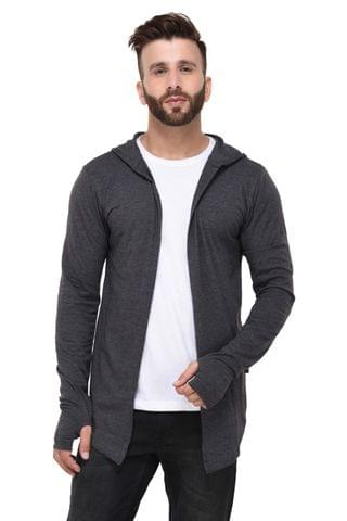 Charcoal Hooded With open Thumbhole Long Cardigan full Sleeve Shrug for Men