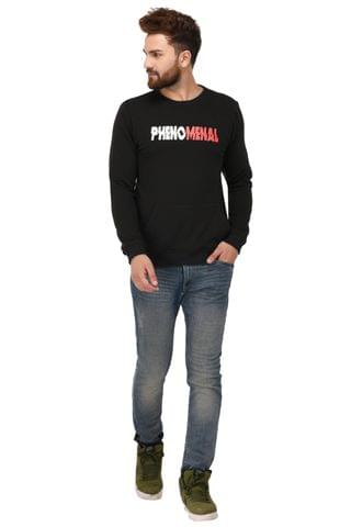 Rigo Black Cotton Printed Sweatshirt for Men