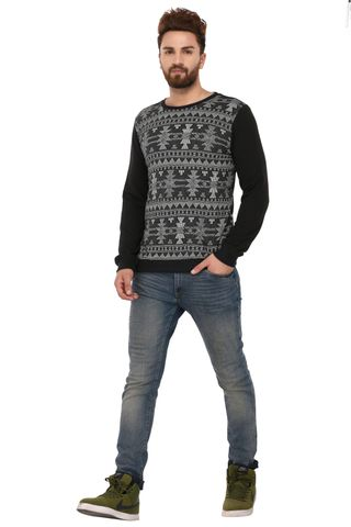 Rigo Black Grey Cotton Sweatshirt for Men