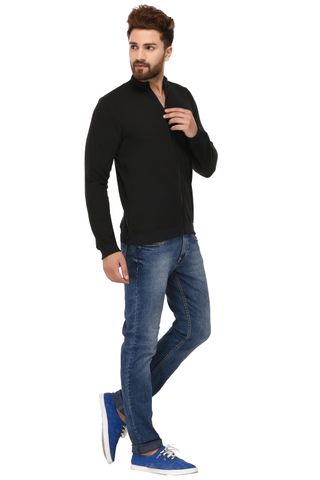Rigo Black Cotton Sweatshirt for Men