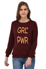 RIGO Girl Power Print Maroon Sweatshirt for Women