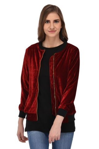 RIGO Maroon Velvet Bomber Jacket for Women