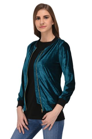 RIGO Green Velvet Bomber Jacket for Women