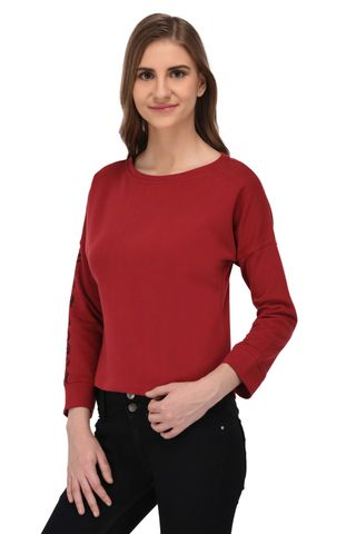RIGO Red Terry Sweatshirt with Printed Slogan Sleeve for Women