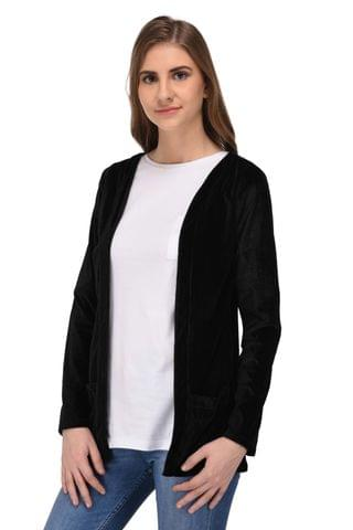 RIGO Black Velvet Long Shrug for Women