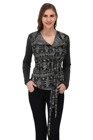RIGO Charcoal Grey Textured Terry Shrug for Women