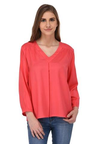 RIGO Coral Front Pleat Top for Women