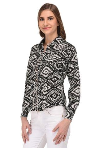 RIGO Black and White Abstract Print Shirt for Women