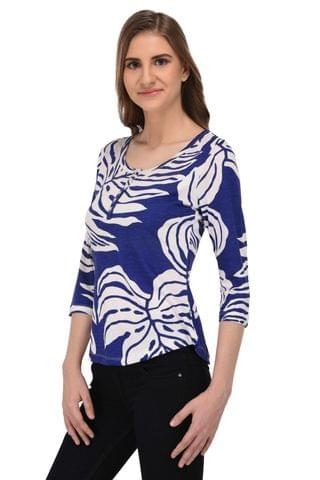 RIGO Blue and White Botanical Top for Women