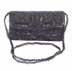 Handmade Beaded Clutch- Black (Small)