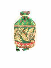 Brocade & Embroidered Lace Potli-Green & Red