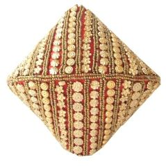 Handmade Satin Beadwork Potli Bag-Red