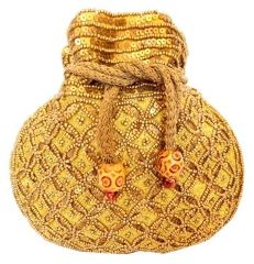 Beaded Drawstring Potli/Batwa- Golden