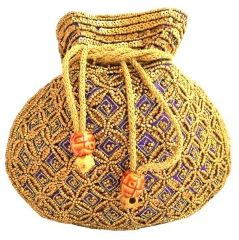Beaded Potli/Batwa with Drawstring- Purple