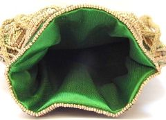 Beaded Drawstring Potli Bag/Batwa- Green