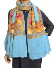 Kashmiri Embroidery Stole on Pure Wool - Grayish Blue