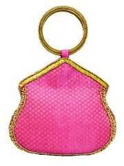 Brocade Bangle Clutch with Beadwork- Pink