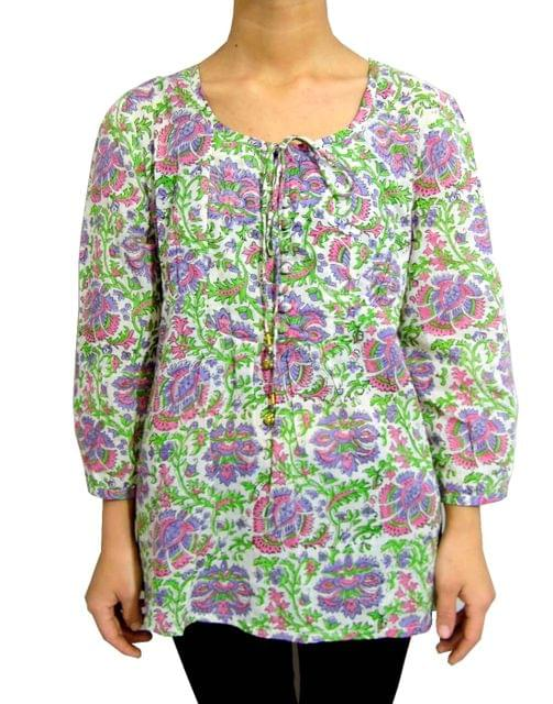 Hand Block Print Jaipuri Cotton Top/Tunic- Purple & Pink Flowers