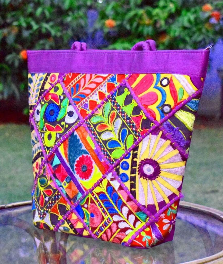 Handmade KutchWork Vintage Handbag in Silk-Purple 1
