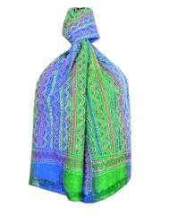 Multishade Kantha Stole on Mulberry Silk- Green&Blue
