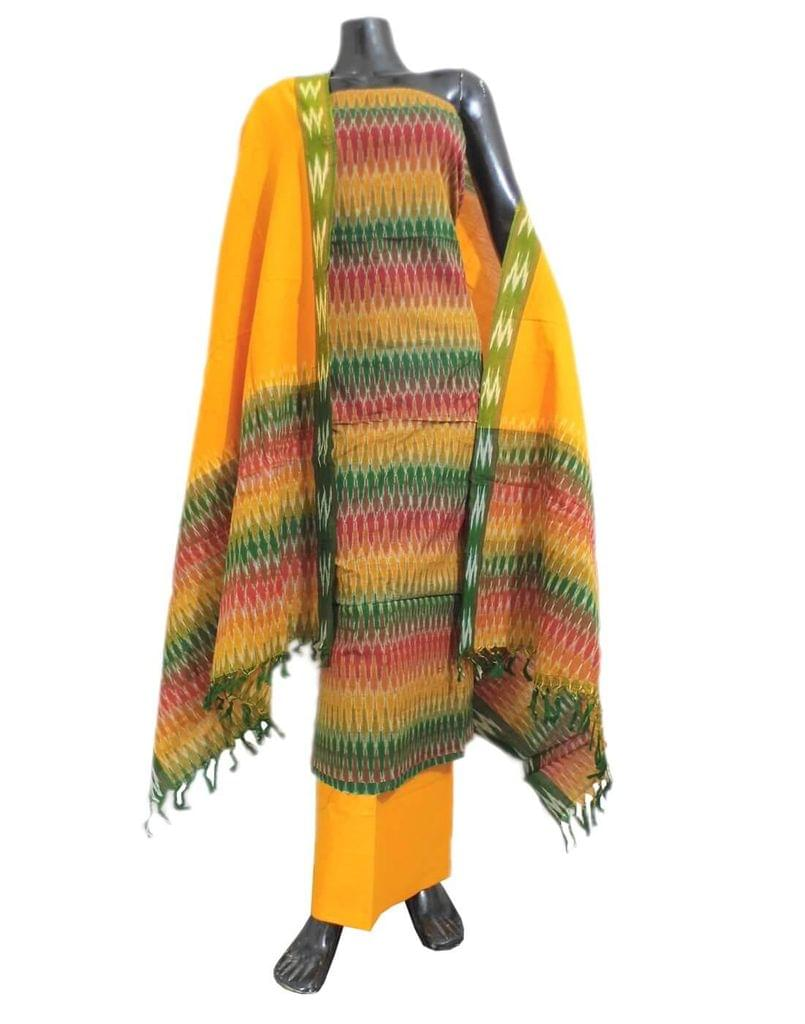 Handloom Cotton Ikat Salwar Suit- Multicolor