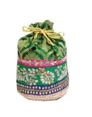 Embroidered Stone Work Potli-Green