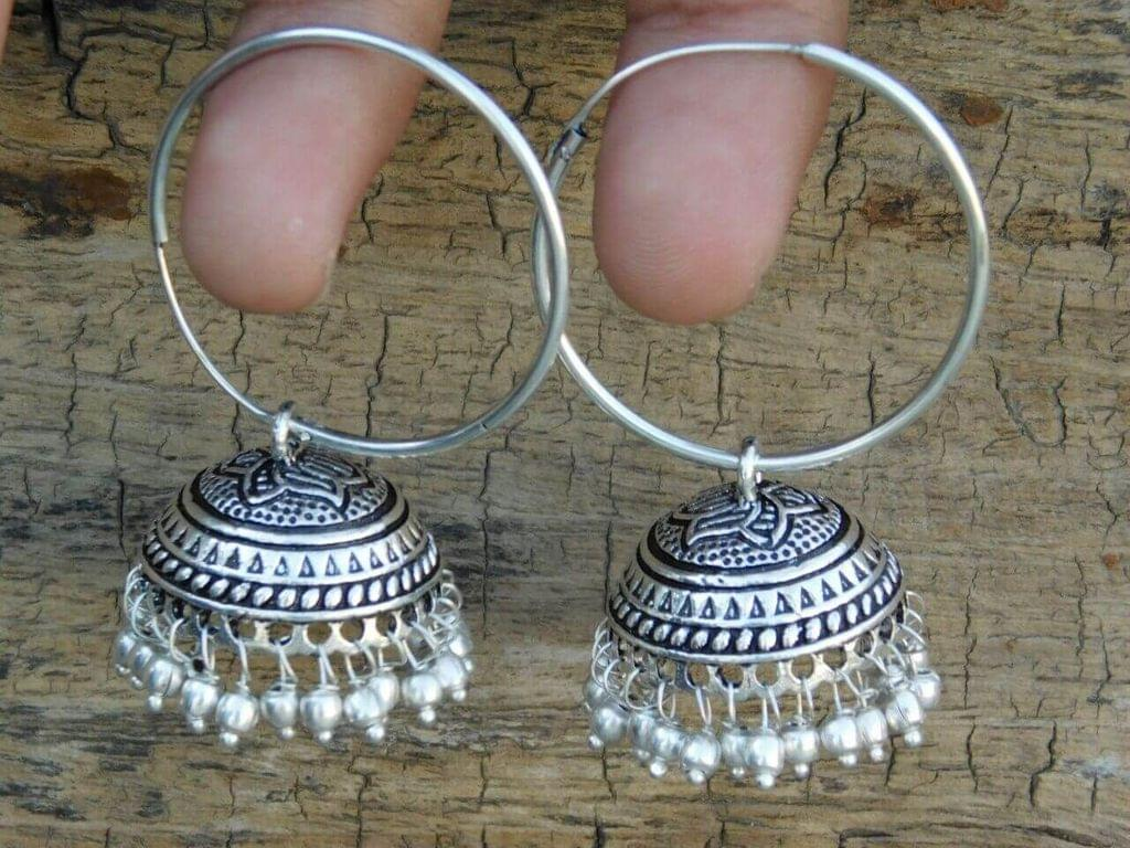 German Silver Hoop Earrings- Silver Bead Jhumkas 1