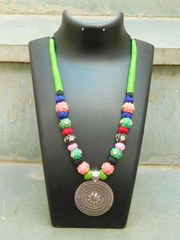 Threaded German Silver Necklace- Round Pendant