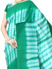 Cotton Shibori Saree-Green