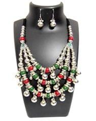 Oxidized Metal Navratri Jewellery Set - Triple Strand with Red&Green