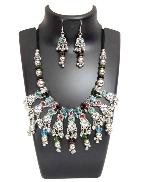 Oxidized Metal Jewellery Set-With Multicolor Stone