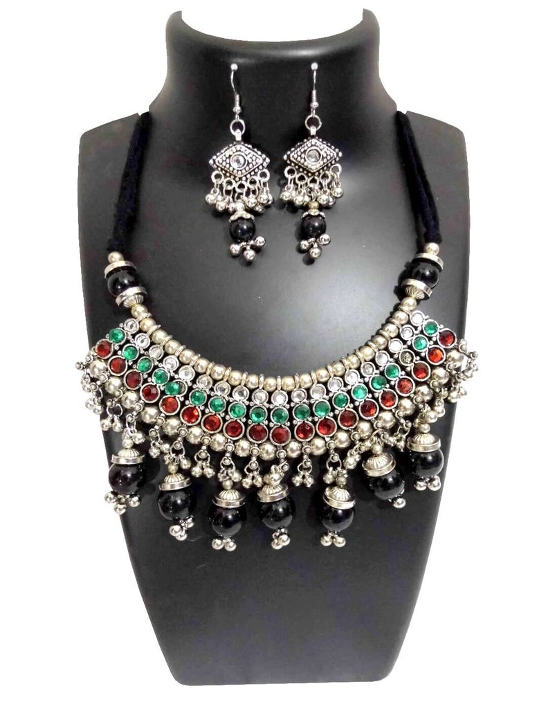 Oxidized Metal Jewellery Set-Red&Green Beads