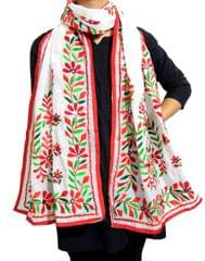 Chanderi Hand Embroidered-White