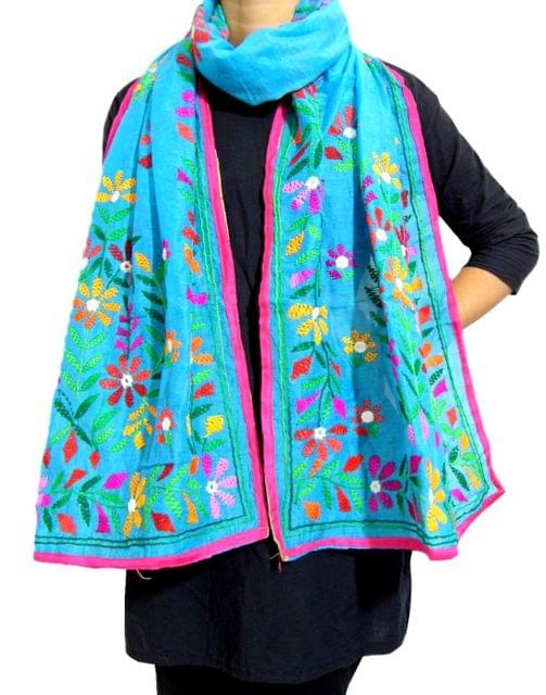 Chanderi Hand Embroidered Stole-Turquoise