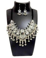 Oxidized Metal Navratri Jewellery Set-White Beads Pendant 3