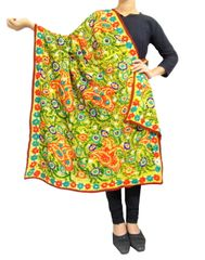 Phulkari Work Georgette Dupatta-Yellow