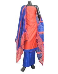 Cotton Silk Salwar Suit & Embroidered Dupatta-Red&Blue