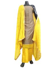Cotton Silk Salwar Suit & Embroidered Dupatta-Yellow&Grey