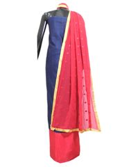 Cotton Silk Salwar Suit & Embroidered Dupatta-Indigo Blue&Pink